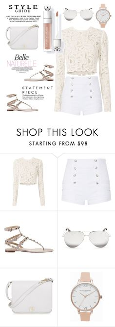 """""""White on White"""" by beccalumint ❤ liked on Polyvore featuring A.L.C., Pierre Balmain, Valentino, Victoria Beckham, Furla and Olivia Burton"""