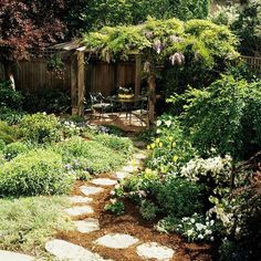 The highlight of this small landscape is a pergola draped with wisteria. Placing the pergola in the back corner of the yard gives you -- and your eye -- a destination, which helps make it feel more spacious. From Better Homes and Gardens. Diy Garden, Dream Garden, Garden Paths, Garden Yard Ideas, Backyard Ideas, Small Gardens, Outdoor Gardens, Backyard Landscaping, Backyard Pergola