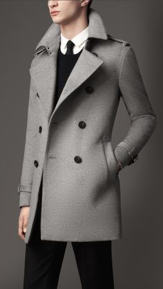 Burberry Midlength Wool Cashmere Trench Coat in Gray for Men (pale grey melange)