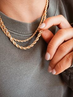 Real Gold Chains, Gold Rope Chains, 14k Gold Chain, 18k Gold, Rope Necklace, Gold Pendant Necklace, Chain Necklaces, Chain Pendants, Fashion Necklace