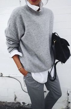 Women Clothing Fashion & Style Inspiration: Fall Outfit Idea - Different Shades Of Grey. Women ClothingSource : Fashion & Style Inspiration: Fall Outfit Idea - Different Shades Of Grey. Mode Outfits, Fashion Outfits, Womens Fashion, Fashion Trends, Fashion Ideas, Modest Fashion, Casual Outfits, Casual Shirts, Tomboy Outfits