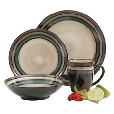 Gibson Select Lewisville Dinnerware 16-pc. Set - Brown/Cream/Teal