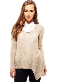 FRED & SIBEL Cashmere Drapeside Scoop Neck Sweater