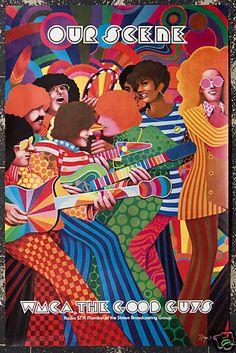 Original Vintage Poster Pop Psychedelic 60s Disco Funk