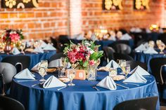 Merlot Red and White Wedding Centerpieces with Greenery and Blue Linen