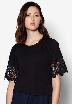 7694fc286c Buy Maxqullo Black Lace Sleeve Top