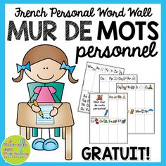 Use these FREE pages to create personal FRENCH word walls for each of your students! French Teaching Resources, Teaching French, Teaching Writing, Teacher Resources, Teaching Kids, Kindergarten Language Arts, Kindergarten Activities, Writing Activities, Learning French For Kids