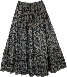 Love in A Mist Floral Cotton Print Long Skirt TLB - Cotton Black Clothing > Printed Cotton Long Skirt (Printed) Cotton Print Long Swirly Skirt - An eye catching bold floral print on a well bodied cotton skirt that can`t go wrong if you love this style Pretty Outfits, Beautiful Outfits, Cool Outfits, Fashion Outfits, Long Skirt And Top, Long Skirt Outfits, Rock, Printed Skirts, Look Cool