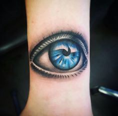 #wristtattoo #wrist #tattoo #eyetattoo #colorfultattoo #blueeye