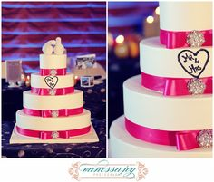 Hot pink ribbon with diamond accents topped with white doves