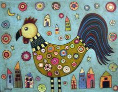 Rooster Collage Folk Art Karla Gerard Canvas by KarlaGerardFolkArt