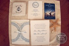 nautical themed wedding invites, favors and save the dates cards.  Personalized anchor coasters by My Little Chickadee Creations