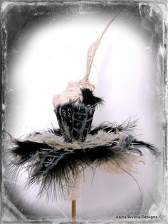 The Black Swan Paper Mâché Ballet Wand with Black Feathers by Anita Rivera
