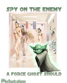 Spying on the enemy is what every successful Jedi Master should do. Funny star wars illustration.  Funny wall art. Yoda Images, Yoda Funny, Funny Wall Art, Star Wars Humor, Fantasy Illustration, Rest Of The World, Pin Up Art, Pop Culture, Sci Fi