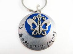 Hand stamped mother friend keychain by jewelryandmorebykat on Etsy
