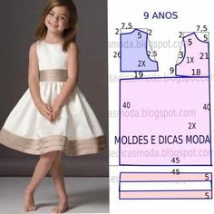 Mod@ en patterns for dress sewing ( Dresses for girls).Dress for a girl of 9 yearsCould do similar with first day dress patternComments on the topic Little Dresses, Little Girl Dresses, Girls Dresses, Kids Dress Patterns, Clothing Patterns, Sewing For Kids, Baby Sewing, Fashion Kids, Sewing Clothes