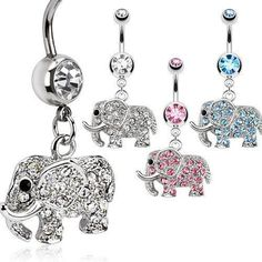 Belly Ring - 14g Elephant CZ Belly Dangle