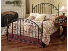"""Shop+for+Hillsdale+Furniture+Kirkwell+Headboard+-+Full/Queen+-+Rails+not+included,+1038-490,+and+other+Bedroom+Beds+at+Priba+Furniture+And+Interiors+in+Greensboro,+NC.+The+classic+style+of+the+Kirkwell+Bed+features+a+traditional+arch+design+with+straight+spindles+that+are+connected+by+solid+""""C""""+shaped+castings."""
