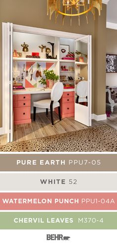 For the perfect mix of style and function, turn your closet into a home office! Neutral colors mix with pops of bright pink to give this space a fun and modern style. You can create this glam look in your home. Click below to learn more about this Behr Paint color palette.