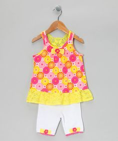 Yellow  Pink Floral Tunic  Shorts - Infant  Toddler #zulily #zulilyfinds