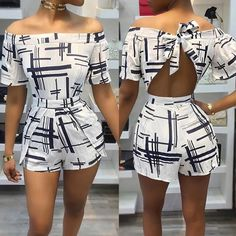 Trendy Off Shoulder Hollow Tied Back Print Romper