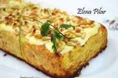 Pastel de Calabacín con gratinado de Piñones (Thermomix)