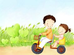 Children's Day Art Illustrations : Childhood Memories and Fun  - Children's Day Art Wallpaper : Brother and little sister on bike 8