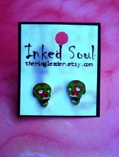 Zombie Pop Art Earrings by PrettyInInkJewelry on Etsy, $9.95