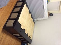In need of a bed that will hold all of your storage needs? The Shelf Bed Storage is a great idea on a low budget that is a great alternative to a bed and a closet. All you need Storage Cubes Supply Sheet of PlywoodMattress and Bed ClothesThings to Store! Diy Storage Bed, Bed Frame With Storage, Diy Bed Frame, Craft Room Storage, Bedroom Storage, Bedroom Decor, Bedroom Hacks, Bedroom Ideas, Bedroom Organization