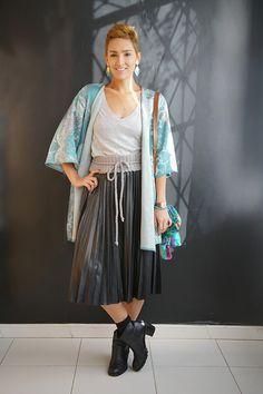 Look do dia: quimono e saia plissada - Blog De repente Tamy Blog De repente Tamy