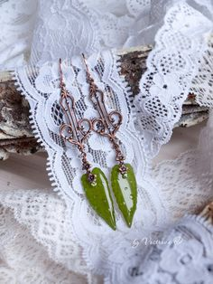 Green earrings. Dangle hook earrings with real leaves. Green resin jewelry with pressed flowers. Real plant earrings. by VostrovaJewelry on Etsy