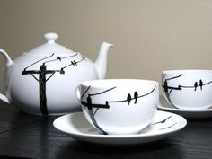 Painted Tea Cup Set-Birds on Wire