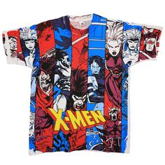 This is an original 1993 X Men Collage All Over Print Shirt. Front and back graphics. This shirt is in good condition, no holes, slightly discolored sleeves, tiny mark on back.   eBay!
