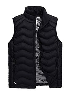 b6904d3a0e Vcansion Mens Stand Collar Lightweight Vest Casual Down Jacket Coat Vest  Black M
