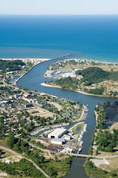 Overhead shot of Grand Haven, Michigan along the shores of Lake Michigan