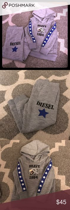 NWOT Diesel Toddler Sweatshirt Set NWOT! Does not fit my chunky child. Really soft and patriotic. Jogger style pants! Pants have pockets on the side and one back butt pocket! Diesel Matching Sets