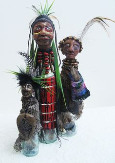 Tumbuna Bottle Art Dolls    recycled bottles, polymer clay, collected old textiles, beads, found objects