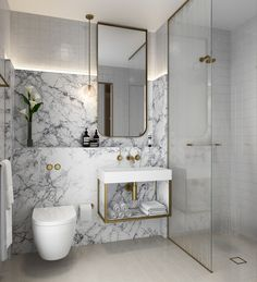 Love the cove light, built in shelf, vanity, wall mounted toilet, tile in shower continues across room