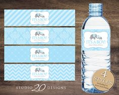 Instant Download, Blue Elephant Water Bottle Labels, Printable Baby Shower Wraparounds, Boy Baby Shower Water Bottle Labels, It's a Boy 22C by Studio20Designs, $1.75