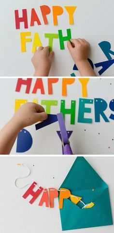 Fun Father's Day Banner Tutorial and Craft. We love how you can pull it from an envelope before displaying it. This and more DIY Fathers Day Decorations on Frugal Coupon Living. clever fathers day gifts, mothers day gifts meaningful, fathers day for kids Diy Father's Day Banner, Fathers Day Banner, Fathers Day Photo, Fathers Day Crafts, Happy Fathers Day, Gifts For Father, Gifts For Kids, Dad Crafts, Diy Father's Day Gifts Easy