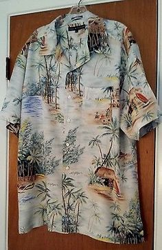 Tommy Hilfiger Mens Ivory Hawaiian Island Short Sleeve Button Front Shirt size L in Clothing, Shoes & Accessories,Men's Clothing,Casual Shirts | eBay