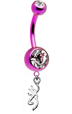 Get this Pink Titanium Browning Charm Belly Button Ring while supplies last - they are selling fast so act now Titanium Belly Button Rings, Belly Button Piercing Rings, Bellybutton Piercings, Belly Button Jewelry, Belly Rings, Body Piercings, Ears Piercing, Jewelry Tattoo, Body Jewelry