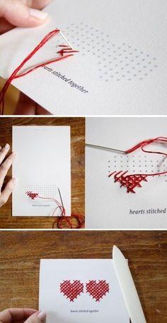 DIY Heart Stitched Card - Tarjeta de san Valentin con punto de cruz