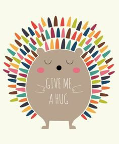 Andy Westface cute digi art cartoon illustrtation print rainbow hedgehog , give me a hug great wall art for contemporary scandi chic playroom or pin to cheer you up (Cool Art Prints) Grafik Design, Cute Illustration, Hedgehog Illustration, Vector Art, Give It To Me, Artsy, Illustrations, Clip Art, Throw Pillows