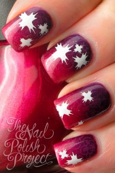 """Plum to violet gradient with white star stamps-there is also subtle """"whole"""" nail stamping. Funky Nails, Glam Nails, Hot Nails, Beauty Nails, Fabulous Nails, Gorgeous Nails, Pretty Nails, Nice Nails, Beautiful Nail Designs"""