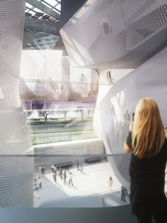 Proposed Cornell Tech campus. A rendering of the interior of the first academic building, with views across the East River and down 57th Street in Manhattan. Credit: Morphosis.