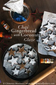 #vegan Chai Gingerbread Stars with Coconut Cream Glaze. You can't stop at just one. Or even five.   #cookie #gingerbread #recipe