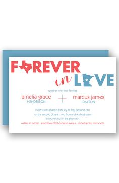 State of Love Wedding Invitation by David's Bridal
