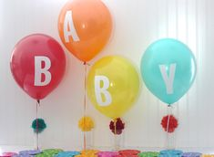 bright and cheery decorations for a baby shower