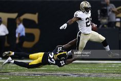C.J. Spiller #28 of the New Orleans Saints is tackled by William Gay #22 of the Pittsburgh Steelers during the first half of a game at the Mercedes-Benz Superdome on August 26, 2016 in New Orleans, Louisiana.